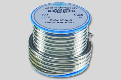 Припой S-Sn97Ag3 содержащий 97% олова и 3% серебра