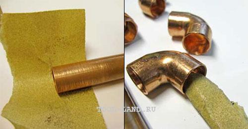 Механическая очистка медной трубы от оксидов
