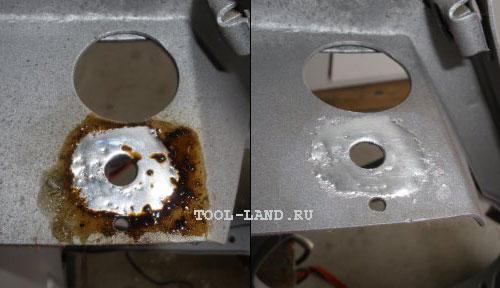 Очистка кузова от флюса после лужения