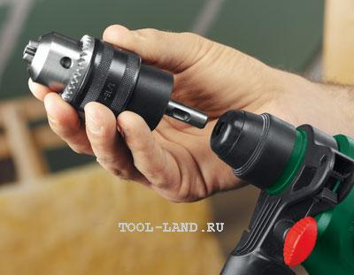 Переходник вставляется в стандартный патрон перфоратора