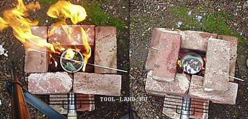 Самодельная печка для плавки в действии