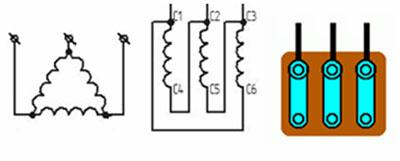 Подключение трехфазного двигателя по схеме треугольник