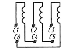 Положение контактов в распределительной коробке трехфазного двигателя