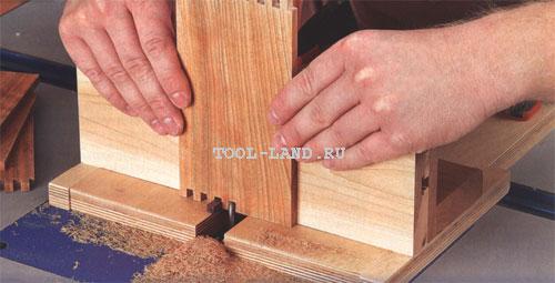 Приспособление для фрезерования ящичных шипов