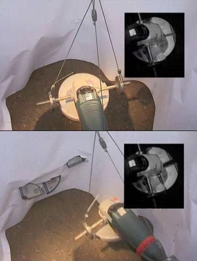 Разлет осколков диска болгарки