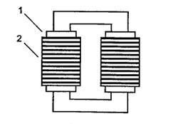 Схема силового трансформатора: 1 - первичная обмотка, 2 - вторичная обмотка.