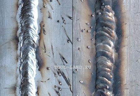 Сварочные швы при движении прутка перед горелкой (слева) и за горелкой (справа)