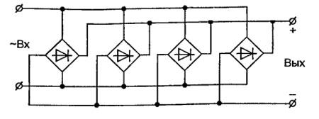 Схема параллельного <strong>сварочный</strong> включения диодных мостов, для больших токов сварочного аппарата.