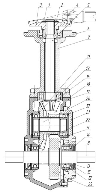 Схема углового редуктора мотоблока Угра НМБ-1(Н)