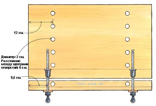 Схема самодельного верстака (вид сверху)